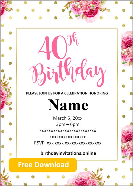 40th birthday invitations templates