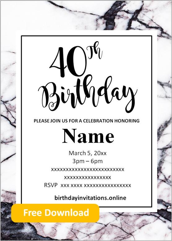 free printable 40th birthday invitations