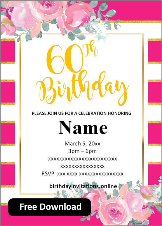 60th birthday party invitations for her