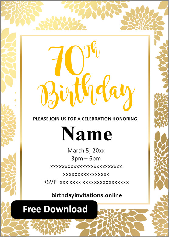 70th birthday party invitations for him