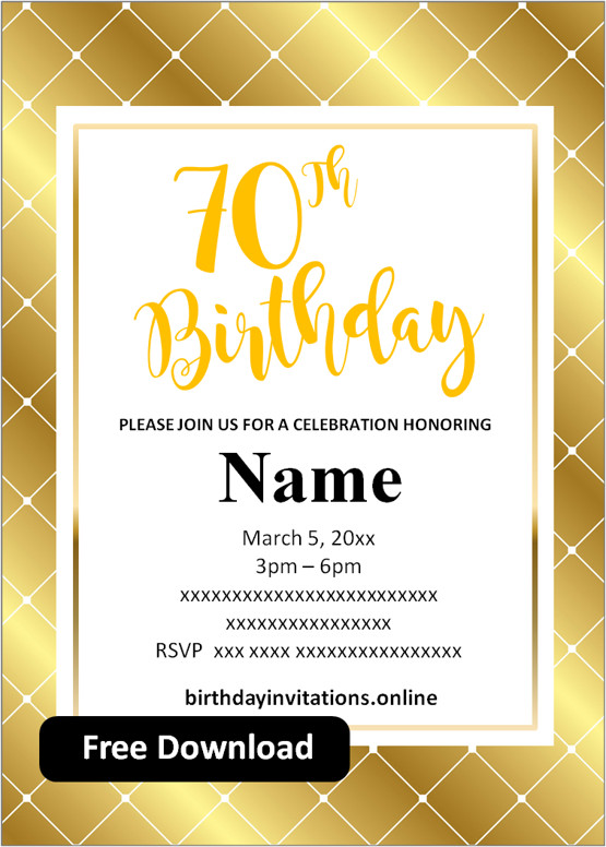 70th birthday party invitations for her