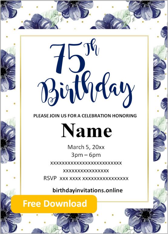 75th birthday invitations free