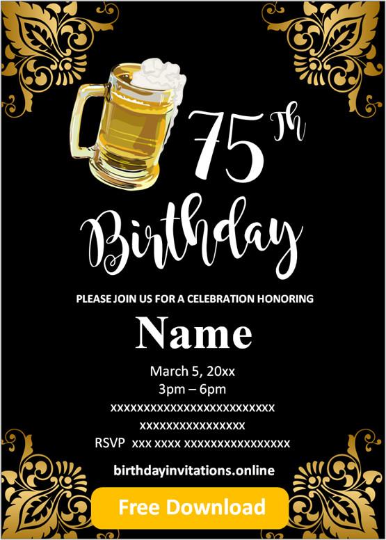 mens 75th birthday invitations