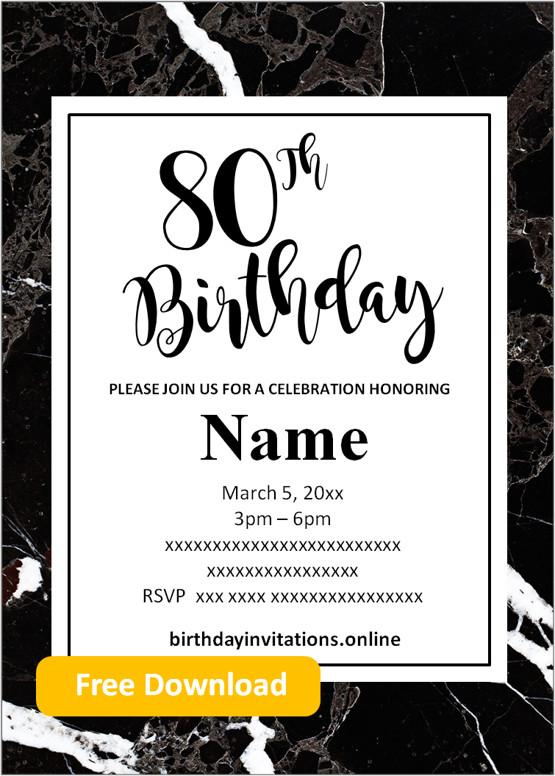 mens 80th birthday invitations