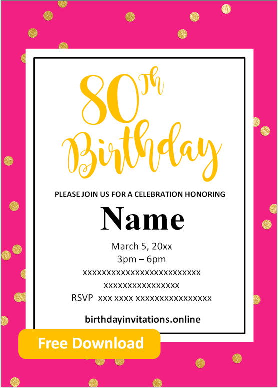80th birthday party invitations for her
