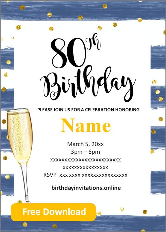 80th birthday invitations for him