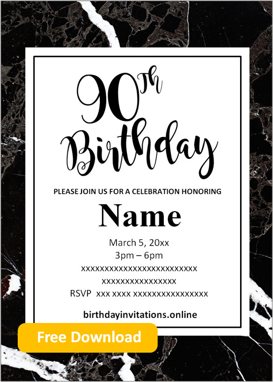 90th birthday party invitations for him