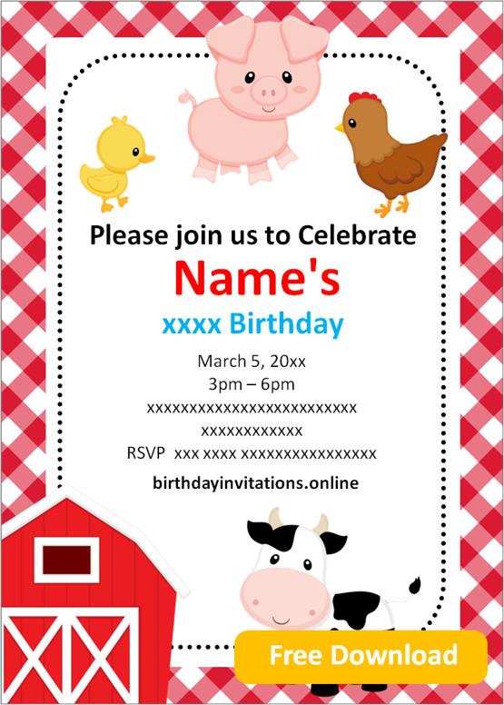 farm party invitations